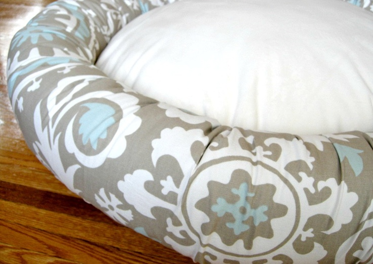 """36"""" Dog Bed - Taupe with White and Powder Blue & Minky Fleece  - Removable Cover. $119.00, via Etsy."""