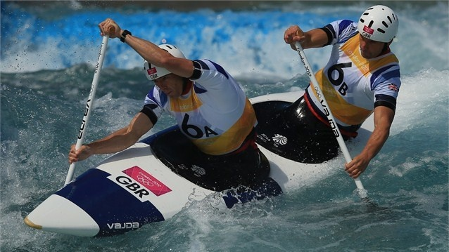 David Florence and Richard Hounslow of Great Britain compete during the men's Canoe Double (C2)