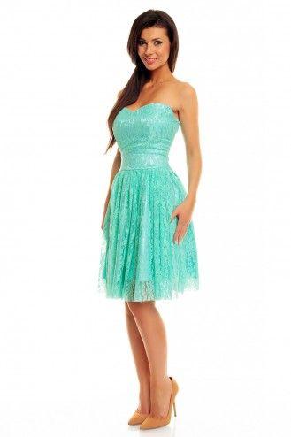 Miętowa koronkowa sukienka z gorsetem KM142-2