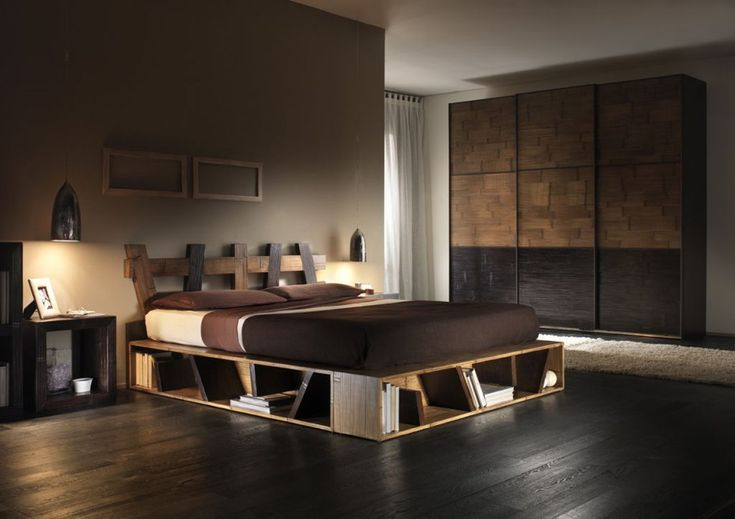 Bedroom:Modern Japanese Style Bedroom Design With Pallet Bed Storage And Dark Wooden Flooring Also Brown Bed Sheet Decor Idea Charming Pallet Bed Decoration Ideas