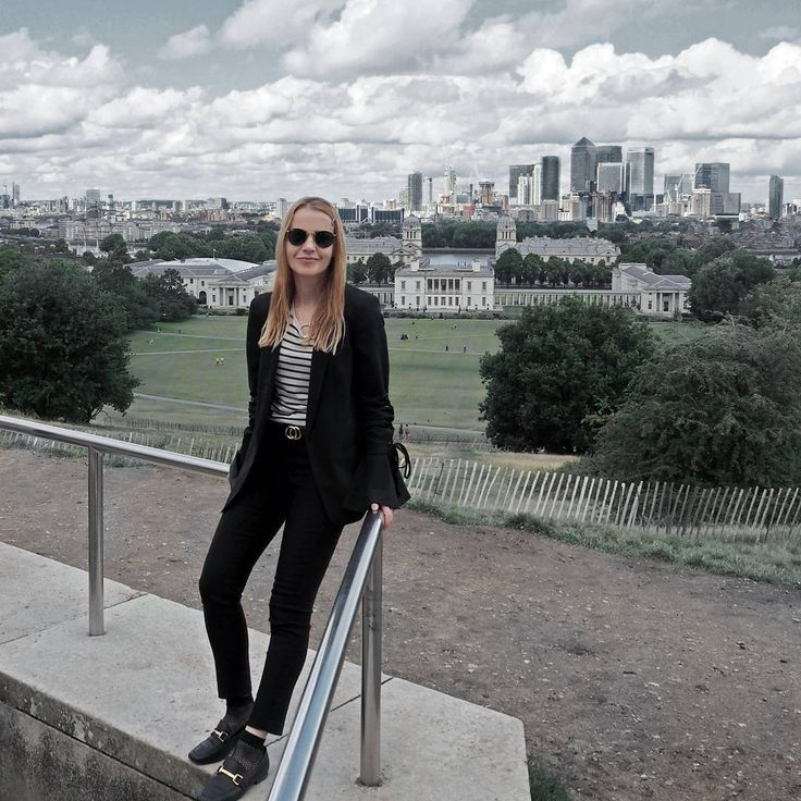 """191 Likes, 7 Comments - Gabriella Buzas (@epicstreetstyle) on Instagram: """"Suit + fishnet socks = tread with caution 😜 on epicstreetstyle.com . ."""" all black smart suit bell trumpet sleeve lace-up blazer cropped tailored trousers striped t-shirt ray-ban shades luxe loafers fishnet socks edgy cool minimal style outfit ootd ootn outfitinspo wiw what I wear lovelondon london city view from the top greenwich"""