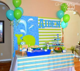 GreyGrey Designs: {My Parties} Aiden's Green Whale 1st Birthday Party