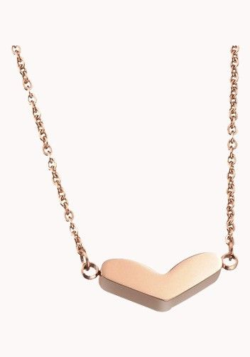 Heart Charm Necklace In Rose Gold