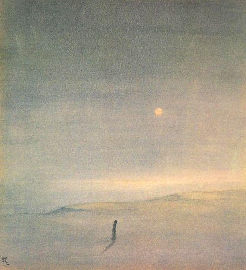 Gaganendranath Tagore (1867-1938), Moon Above the Sea. Watercolour. National Gallery of Modern Art, New Delhi.