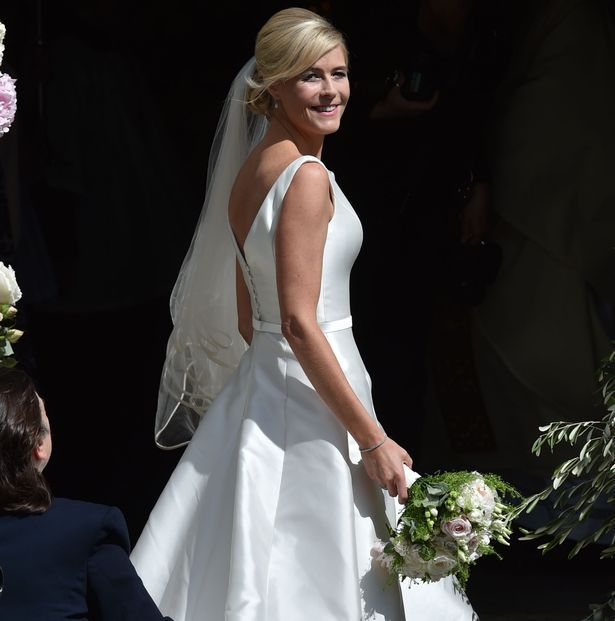 Bride Ali Astall arrives at her wedding to Declan Donnelly