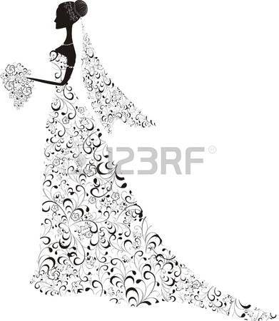 principessa vintage: Bella sposa con abito floreale e velo Vettoriali