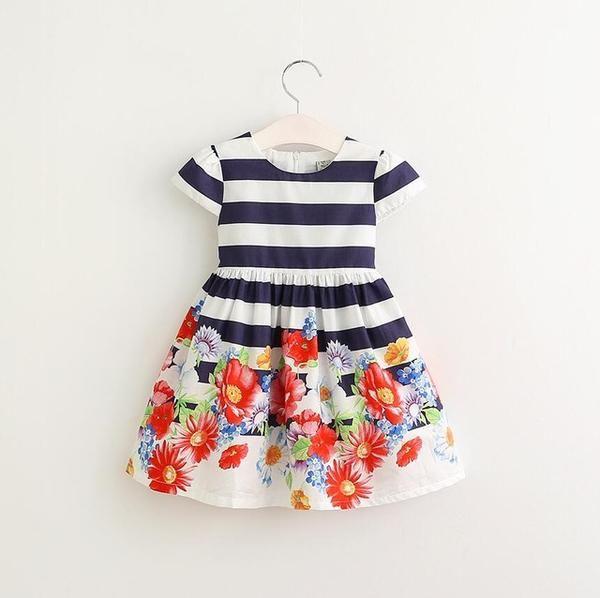 2017 Brand Summer Navy Blue&White Striped Girls Dresses Kids Short Sleeve Flowers Princess Dress Knee-Length A Line
