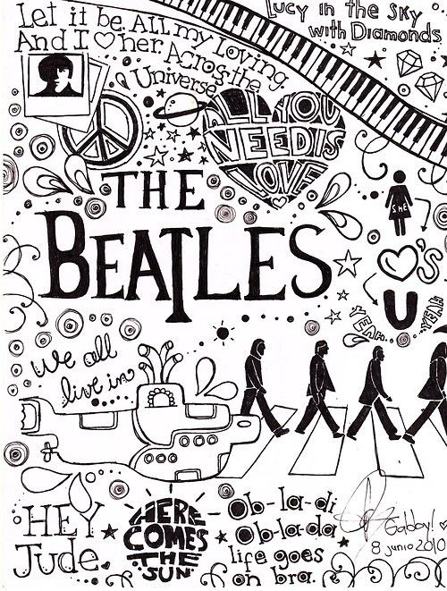 I love the Beatles, AND this is something I could totally draw, pen and ink, uneven lettering spacing, and all. <3