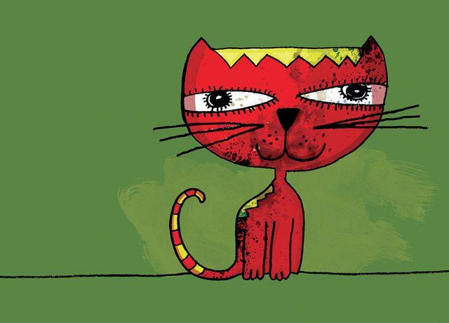 gato naranja sobre fondo verde