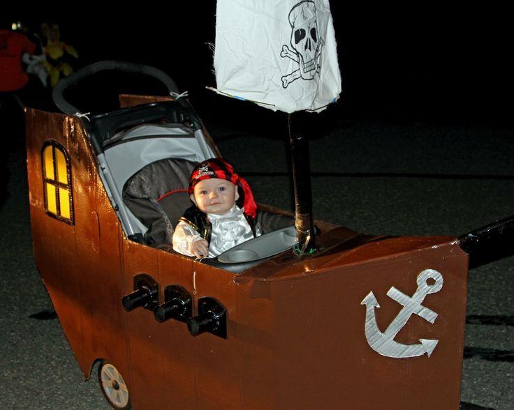 Halloween costume pirate ship stroller DIY baby boy