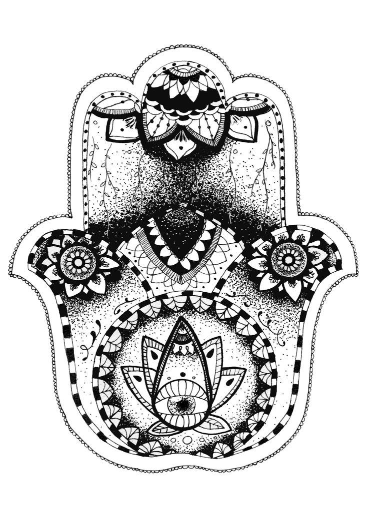 Hamsa Hand  Felt tip drawing  Print available from jadecrumps.bigcartel.com