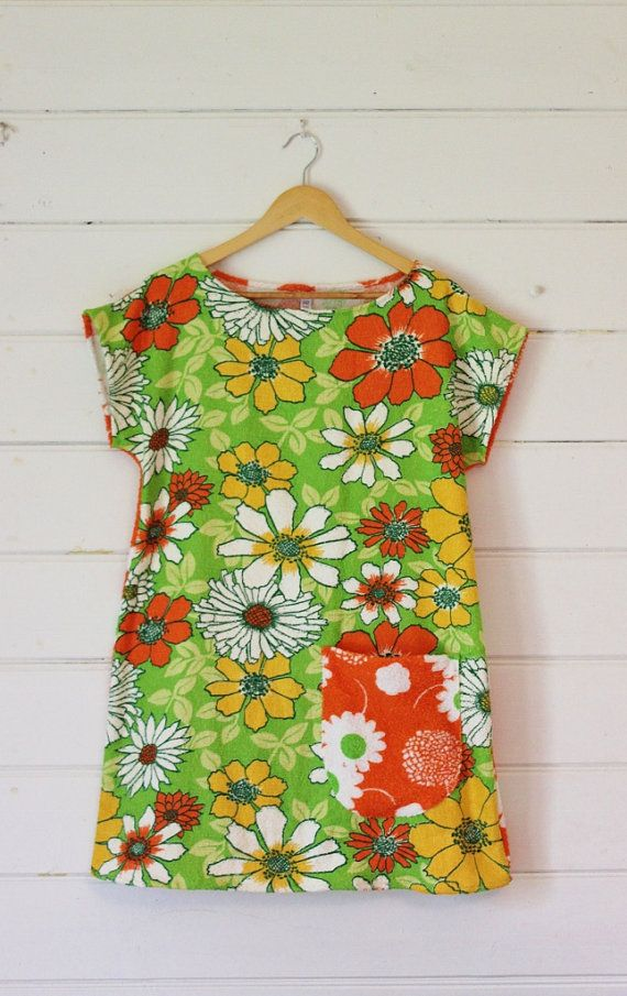 Womens Vintage Cotton Terry Towelling Dress Tunic by apieceofpie