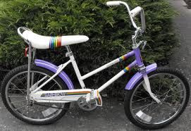 And there it is... My very first bike. Only, mine had a white basket on the front with retro neon colored daisies, streamers, and my dad put those neon rainbow colored spoke decorations on so my bike would jingle as I rode.  ;)