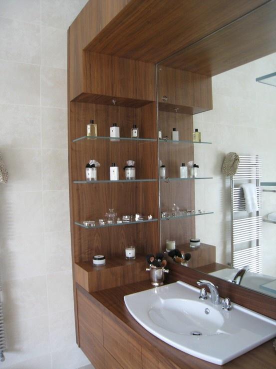#bespoke bathroom cabinet in walnut with lighting