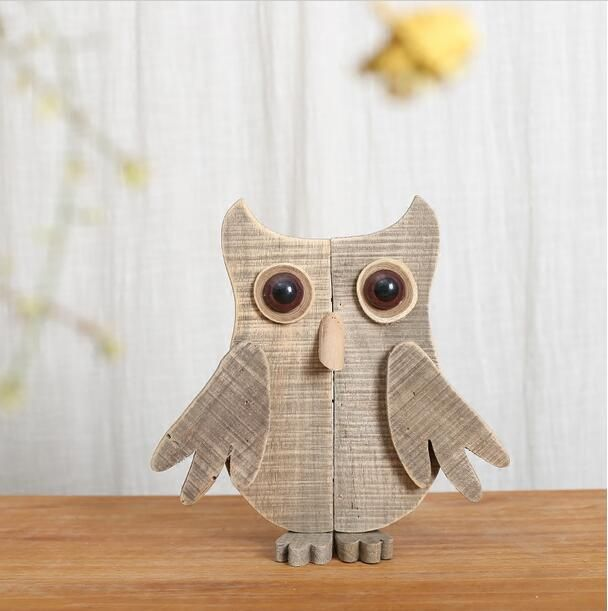 Simple original modern wooden animal desktop ornaments handmade abstract wood owl figurine new creative home decorations
