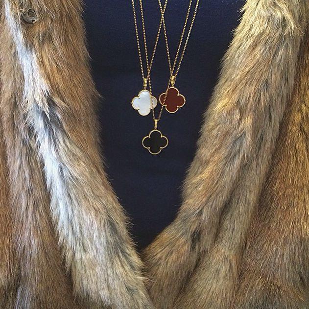 Van Cleef & Arpels new Magic Alhambra pendants in mother of pearl, black onyx and carnelian are true symbols of elegance. Explore the world of Alhambra at the Van Cleef & Arpels boutique of London Jewelers Americana Manhasset. Van Cleef & Arpels #londonjewelers #vancleefarpels #americanamanhasset #luxury #pendants #new #magicalhambra #style #love #beautiful #jewelry #elegant