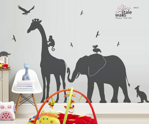 Giraffe Elephant Monkey wall decal jungle safari nursery theme,children bedroom, Kids Bedroom. Kangaroo, pelican, swallow,eagle decal - d533...