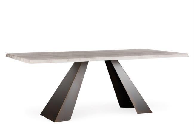 Tavolo fisso in legno e metallo corten