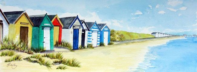 original watercolours, prints and cards of English seaside beach huts.   I could use a little seaside beach hut here in Texas or when I go to Florida.  Is there a fan and a fridge there?  How about a hammock or a cot?