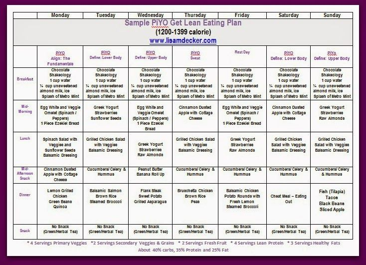 12 best images about piyo meal plans on pinterest