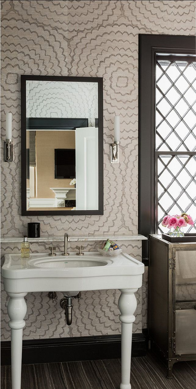 Bathroom Wallpaper in Celerie Kemble Feather Bloom in Dove (also comes in  Emerald & Ore