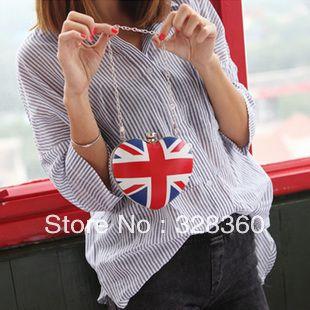 2013 estilo britânico do coração da bandeira torx em forma amor strass um ombro cross-corpo cadeia bolsa pequena bolsa US $21.40