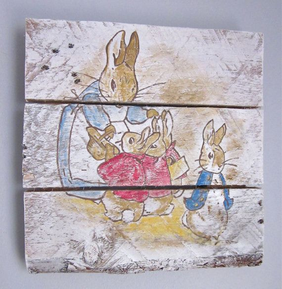 Peter Rabbit Family Handpainted Wood Sign by SarahAnnByler on Etsy, $60.00
