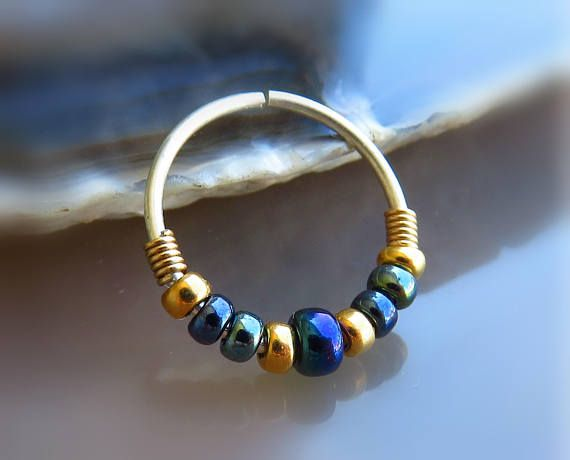 black nose ring // beaded nose jewelry // nose hoop 20g  gold