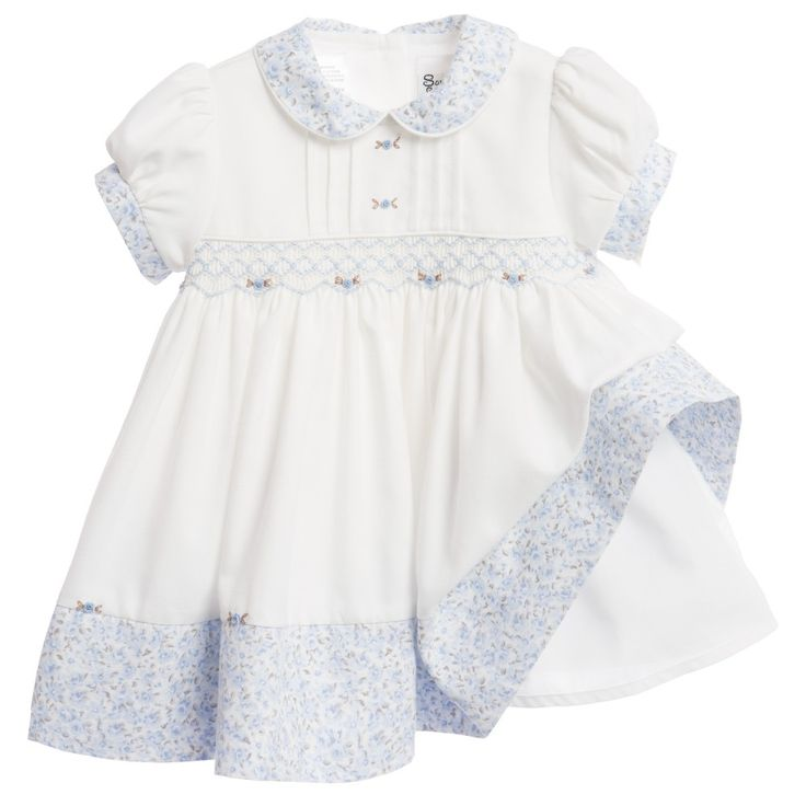 Sarah Louise - Baby Girls Ivory & Blue Hand Smocked Dress | Childrensalon