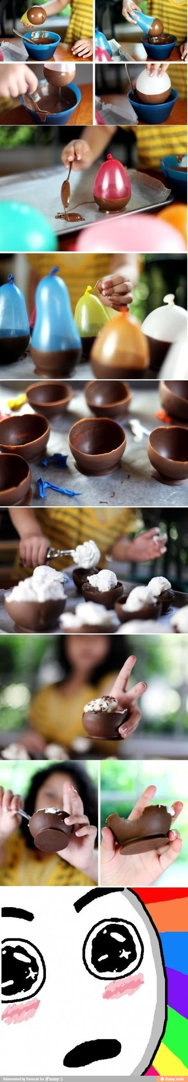 Chocolate ballon bowls- to fill with chocolate mousse?