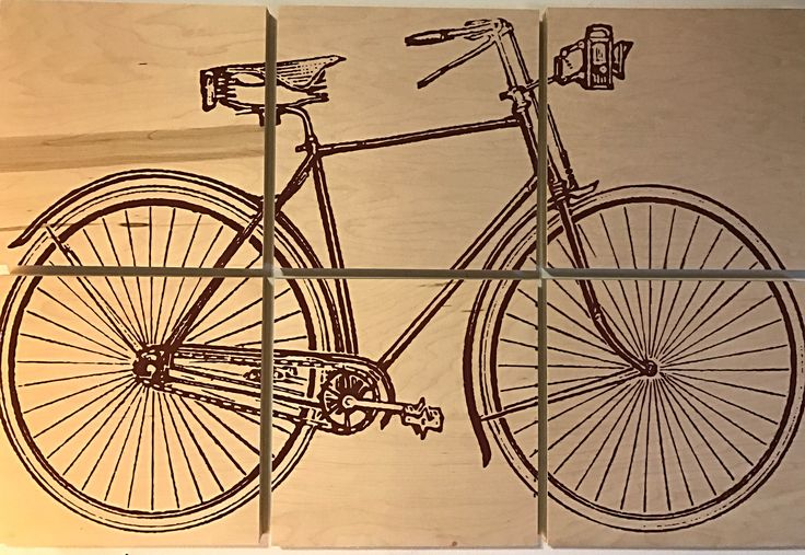 24x36 vintage bicycle screen printed with red wood stain by CreationsSauvages on Etsy