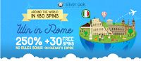 Around the World in 180 Spins - Weekly 250% No Rules Bonus for Slots and 30 Free Spins at Silver Oak Casino
