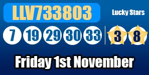 The Euromillions results for Friday 1st November 2013, with no jackpot winners http://euromillionshub.com/euromillions-results-1st-november/