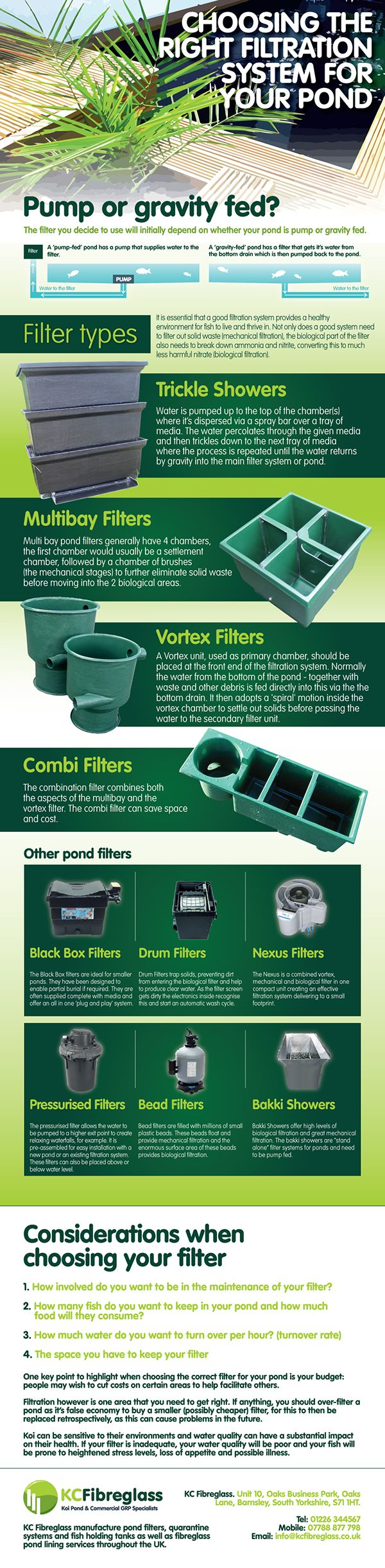 Choose right pond filters for your Koi pond from KC Fibre Glass.KC Fibreglass offer a huge range of Koi pond filters at a reasonable price. Shop now to visit website - http://kcfibreglass.co.uk and get 100% safe guaranteed.