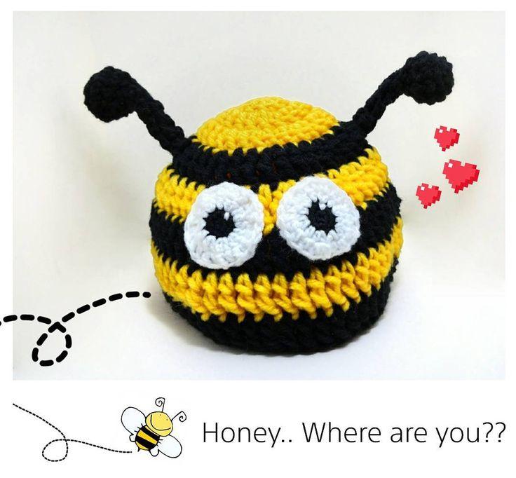 Crochet bee hat