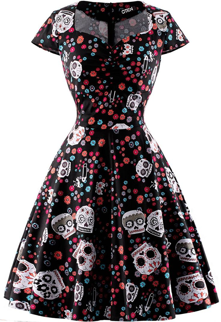 Amazon.com: OTEN Women's Floral Sugar Skull Cap Sleeve Sewing Casual Retro Party Rockabilly Dress: Clothing  https://www.amazon.com/gp/product/B01FD7ROSA/ref=as_li_qf_sp_asin_il_tl?ie=UTF8&tag=rockaclothsto-20&camp=1789&creative=9325&linkCode=as2&creativeASIN=B01FD7ROSA&linkId=13f1d1bb10f72b664ead2122abe0d6ad