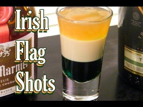 The Irish Flag shot is a layered drink: creme de menthe, Irish cream, and Grand Marnier. It replicates the colors of the Irish Flag.
