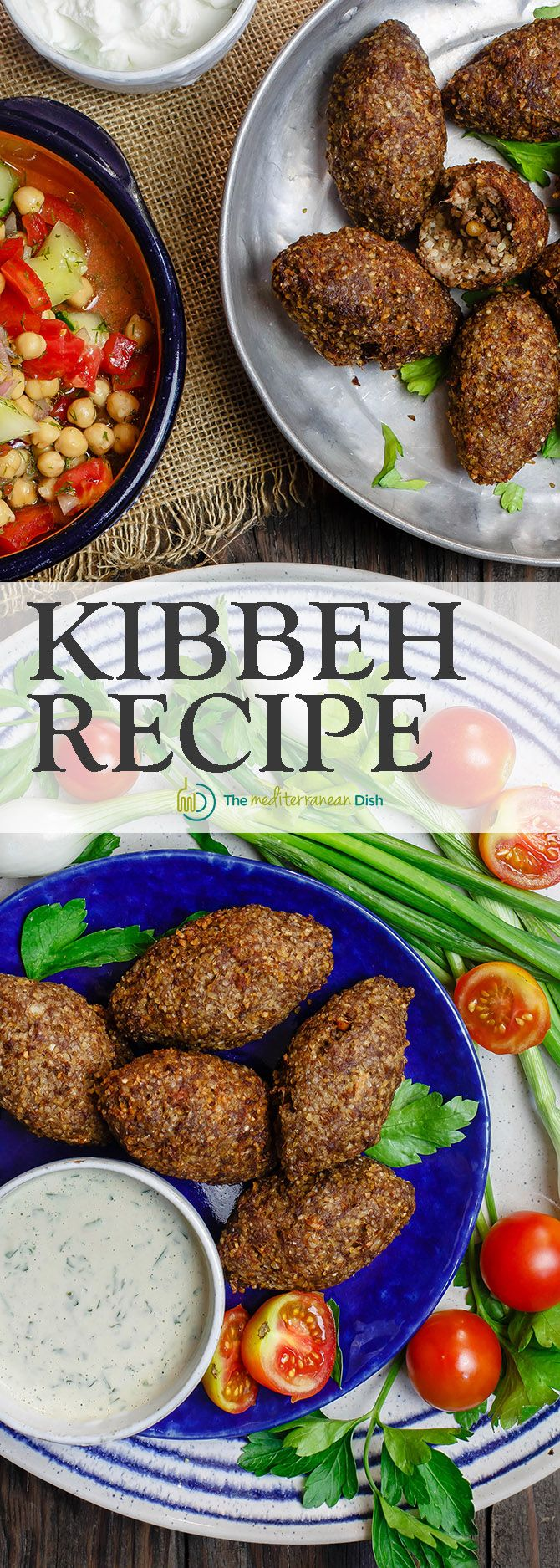 Kibbeh Recipe Tutorial | TheMediterraneanDish.Com. Kibbeh are more than meatballs; they are Middle Eastern croquettes made of bulgur wheat, ground beef or lamb, onions, pine nuts and earthy Middle Eas (Baking Meatballs Beef)