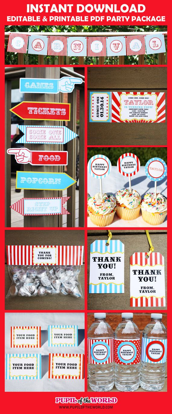 Circus Carnival Birthday Party Printable by PupiloftheWorld, $14.99