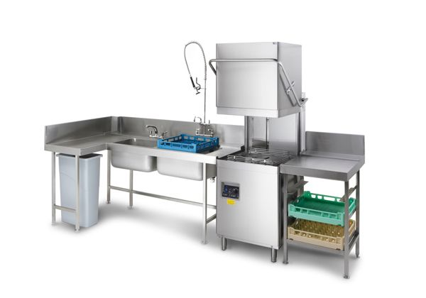 commercial dishwasher and stainless steel tabling