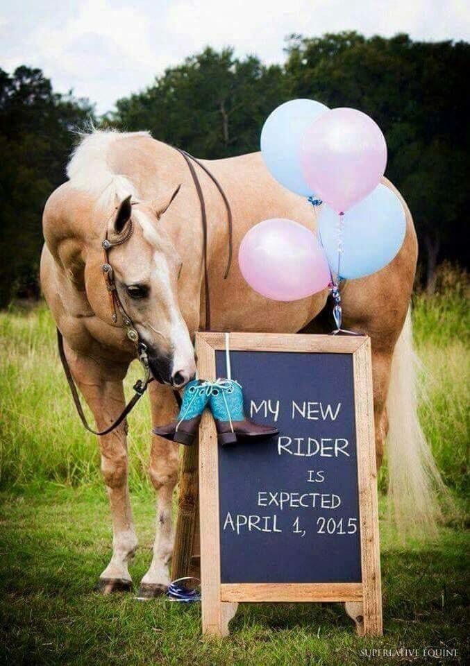 What an adorable baby rustic announcement idea!!  #rustic #horse #western #equestrian #cowgirl #baby #announcement #idea #cute #diy #momtobe