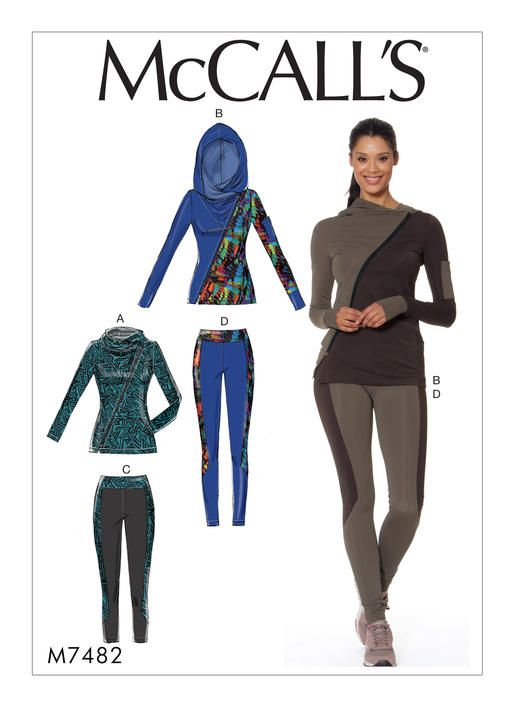 McCall's sewing pattern M7482 Misses' Asymmetrical-Zip Jacket and Seamed Leggings