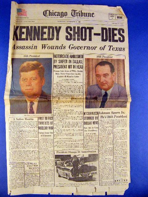 November 23 1963 | Nov 23 1963 Chicago Tribune Newspaper JFK Kennedy Shot Assassinated ...