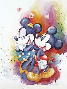 Mickey Mouse - A Rose for Minnie - Michelle St. Laurent - World-Wide-Art.com - #disney #michellestlaurent #disneyfineart #mickeymouse #minniemouse