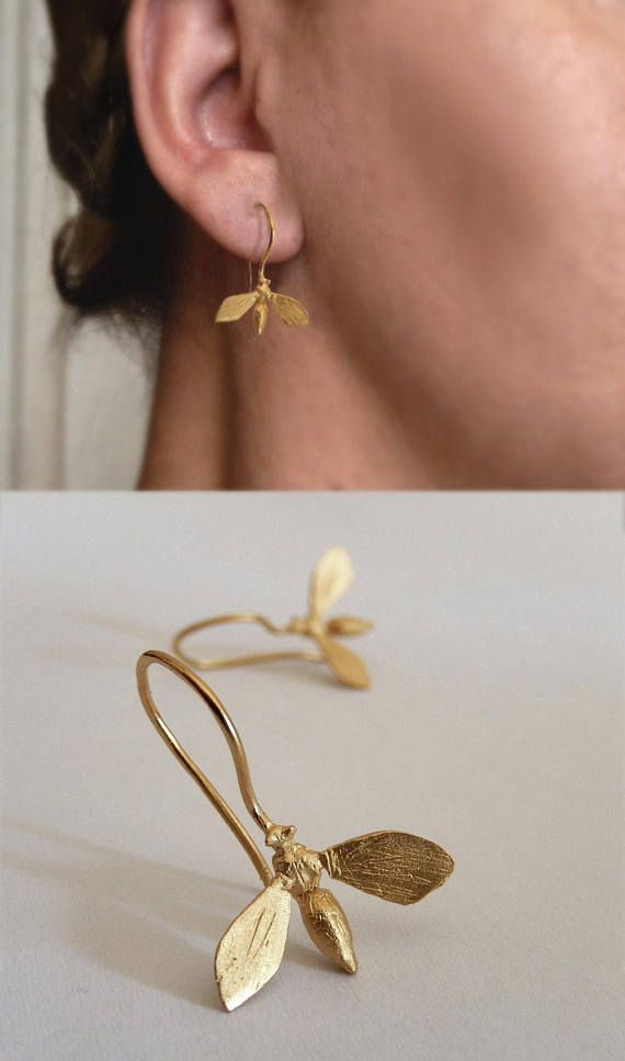 Gold Bee Earrings  Gold Plated Sterling Silver Bee Dangle