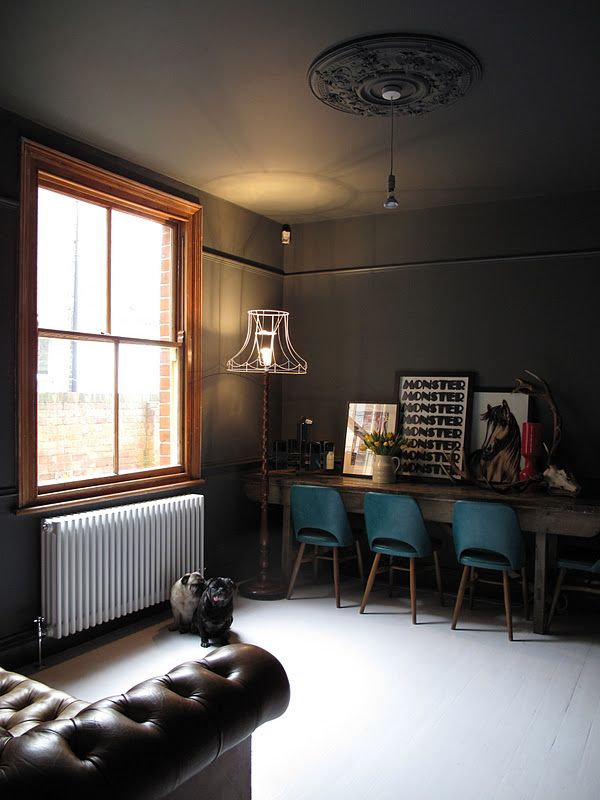 Wall color - Farrow & Ball's Down Pipe. I like the wire lampshade on the.  Bathroom GreyDark CeilingCeiling LightsDark ...