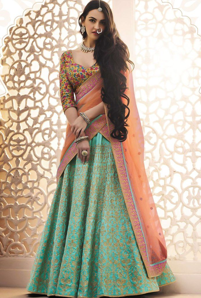 Featuring green lehenga set with badla zari embroidery and it comes with beautiful embroidered dupatta. CHOLI: Dupion SKIRT: Dupion DUPATTA: Net COLOUR: Green