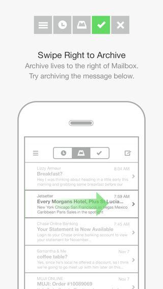 Consider as navigation / category pattern..... Mailbox iPhone walkthroughs screenshot