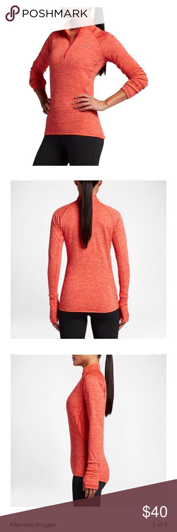 Nike Element Sphere Half Zip Running Shirt Nike Women's Element Sphere Half Zip Long Sleeve Running Shirt in excellent condition in the color Turf Orange. This half zip features a 3D fabric structure to trap air against your body and reduce cling during outdoor workouts. Thumbhole cuffs with fold-over mittens offer additional warmth, while the reflective elements provide enhanced low-light visibility. Warm up to speed up with the Element Sphere Half Zip running Shirt. Nike Tops