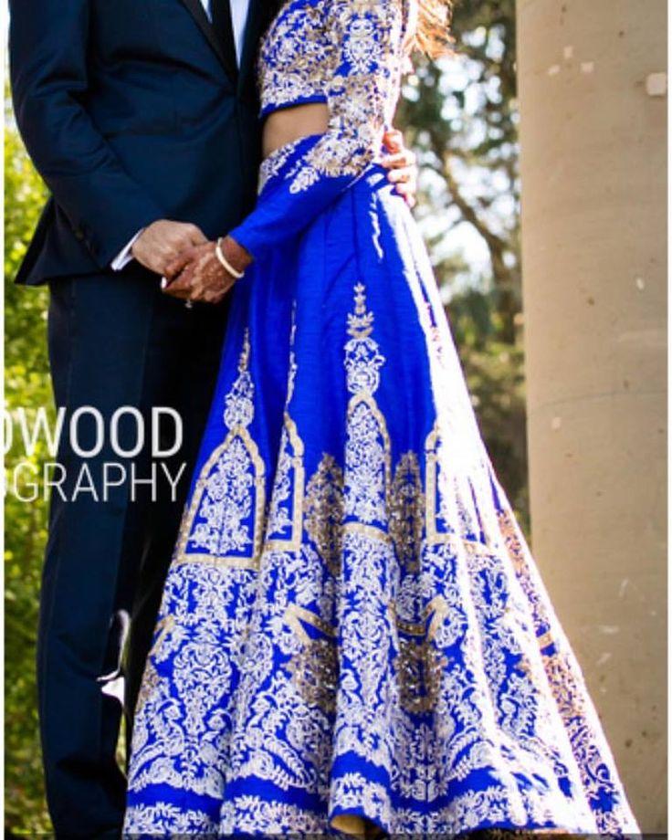 Royal Blue custom design bridal lehenga by Dilli Darzi
